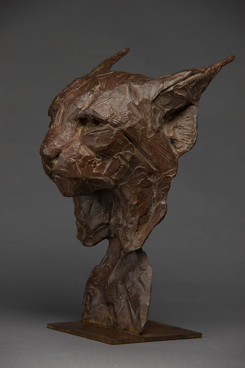 Bronze Lynx Head Fragment